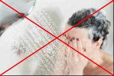 シャワー洗い流し